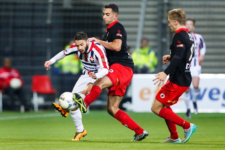 (L-R) Rochdi Achenteh of Willem II, Adil Auassar of Excelsior, Tom van Weert of Excelsior