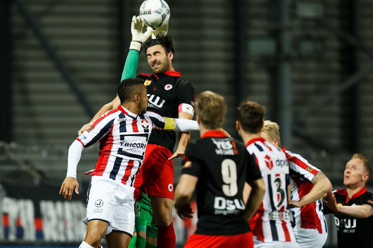 (L-R) goalkeeper Kostas Lamprou of Willem II, Funso Ojo of Willem II, Sander Fischer of Excelsior, Tom van Weert of Excelsior